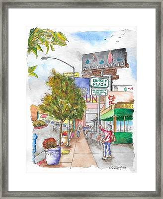 Sunset Plaza, Sunset Blvd., And Londonderry, West Hollywood, California Framed Print