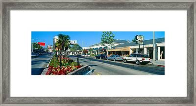 Sunset Plaza, Sunset Blvd, Los Angeles Framed Print