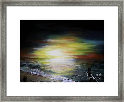 Framed Print featuring the painting Sunset Point by Anna-Maria Dickinson