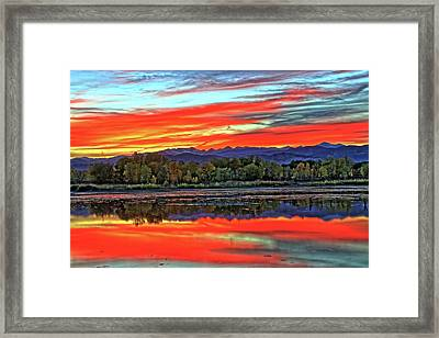 Framed Print featuring the photograph Sunset Ponds by Scott Mahon