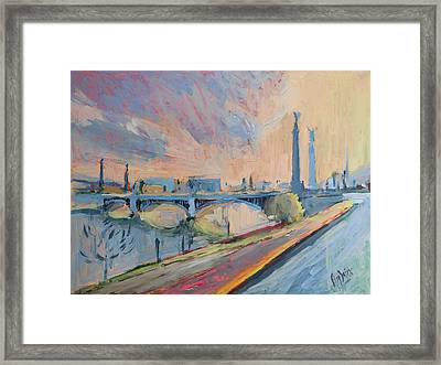Sunset Pont Fragnee Framed Print