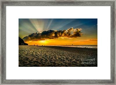 Sunset Puka Beach Framed Print by Adrian Evans