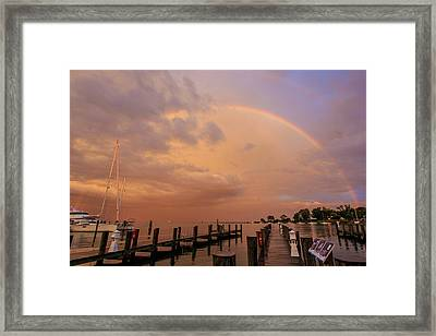 Framed Print featuring the photograph Sunset Rainbow by Jennifer Casey
