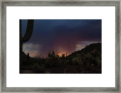 Sunset Rainfall Framed Print