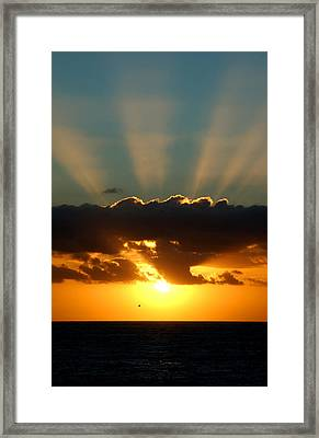 Sunset Rays Framed Print by Val Jolley