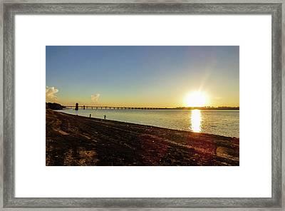 Sunset Reflecting On The Uruguay River Framed Print