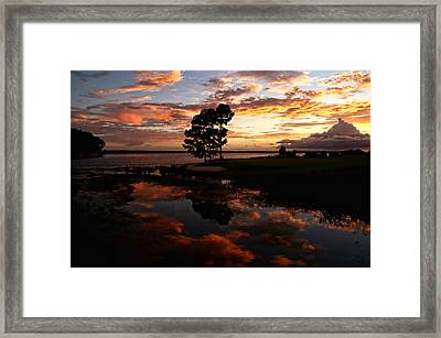 Sunset Reflection Framed Print by Judy Vincent