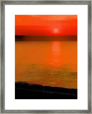 Sunset Reflection On The Beach Framed Print by Dan Sproul