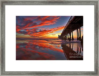 Sunset Reflections At The Imperial Beach Pier Framed Print by Sam Antonio Photography