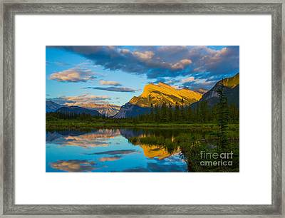 Sunset Reflections In Banff Framed Print by John Roberts