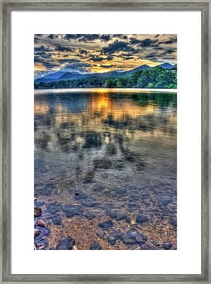Sunset Reflections Lake Junaluska Sunset Blue Ridge Mountains North Carolina Framed Print