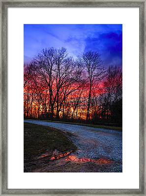 Sunset Road Framed Print by Alexey Stiop