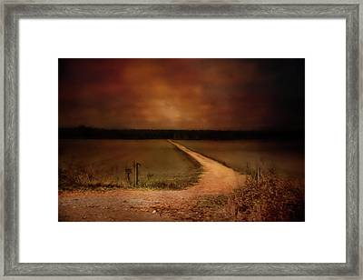 Sunset Road Landscape Art Framed Print