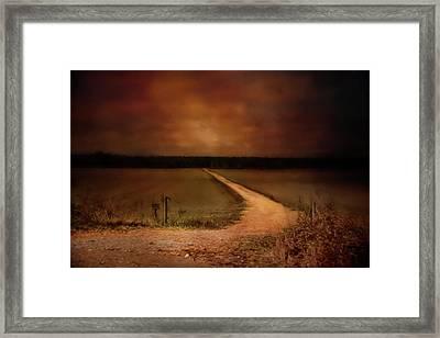 Sunset Road Landscape Art Framed Print by Jai Johnson