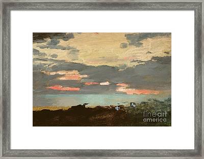 Sunset, Saco Bay Framed Print by Winslow Homer
