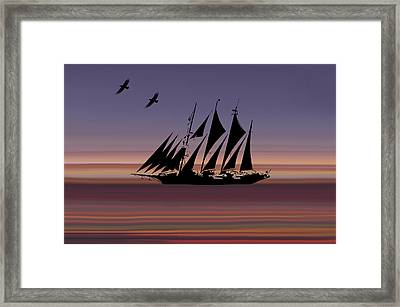 Sunset Sail Abstract Framed Print
