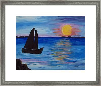 Sunset Sail Dark Framed Print by Barbara McDevitt