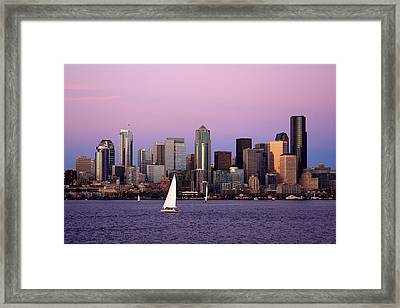 Sunset Sail In Puget Sound Framed Print by Adam Romanowicz