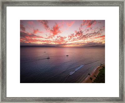 Sunset Sail Kaanapali Maui Framed Print by Seascaping Photography