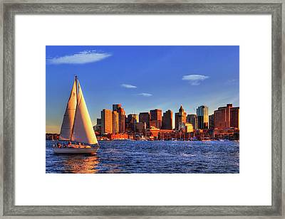 Sunset Sail On Boston Harbor Framed Print