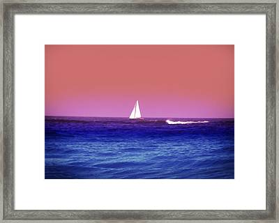 Sunset Sailboat Framed Print by Bill Cannon