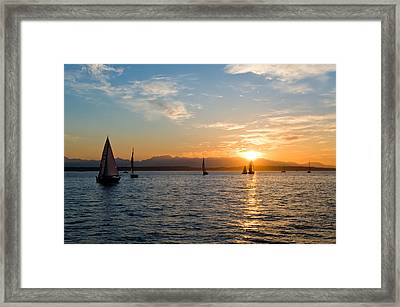Sunset Sailboats Framed Print by Tom Dowd