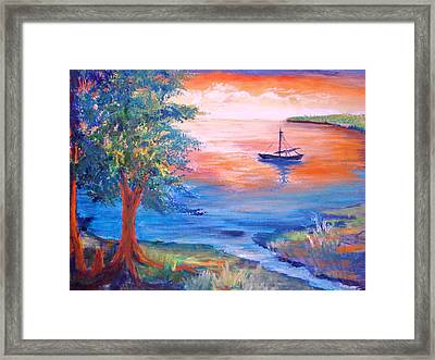 Sunset Sailing Framed Print by Anne Dentler