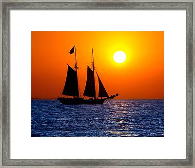 Sunset Sailing In Key West Florida Framed Print