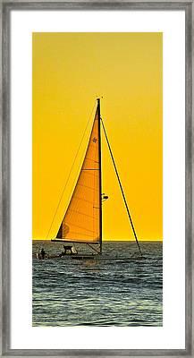 Sunset Sailing Framed Print by Liz Vernand