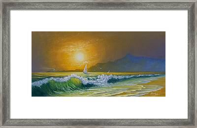 Sunset Sails Framed Print by C Steele