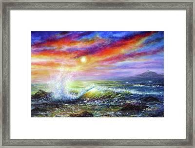 Sunset Sea Framed Print by Ann Marie Bone