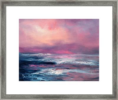 Sunset Sea Framed Print by Sally Seago