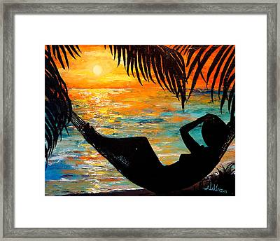 Sunset Silhouette Framed Print by Alan Lakin