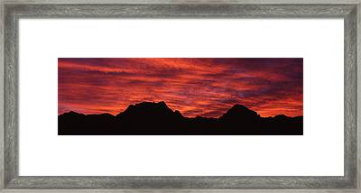 Sunset Silhouette Mountain Range Nv Usa Framed Print by Panoramic Images