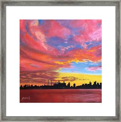 Sunset Silhouette...a Rainbow Of Colors Framed Print by Harvey Rogosin