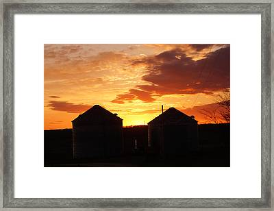 Framed Print featuring the digital art Sunset Silos by Jana Russon