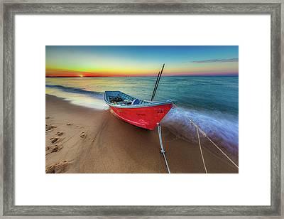 Sunset Skiff Framed Print