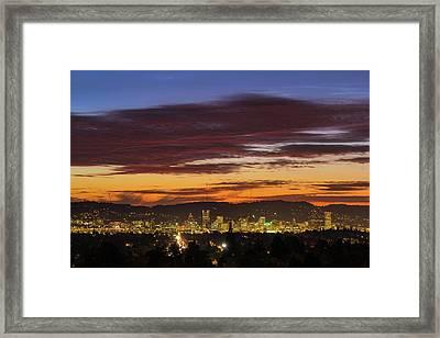 Sunset Sky Over Portland Oregon City Skyline Framed Print by David Gn