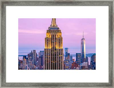 Sunset Skyscrapers Framed Print by Az Jackson
