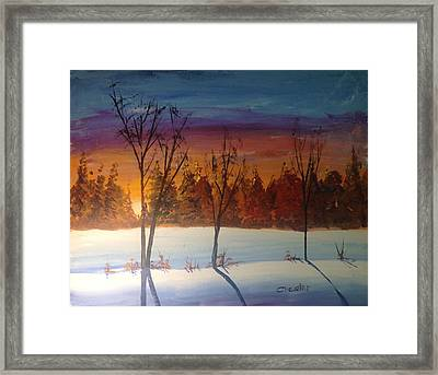 Sunset Snow Framed Print