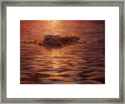 Sunset Snuggle - Sea Otters Floating With Kelp At Dusk Framed Print