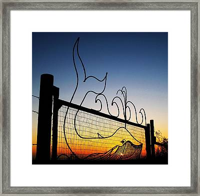 Sunset Spouting Whale Framed Print by John King