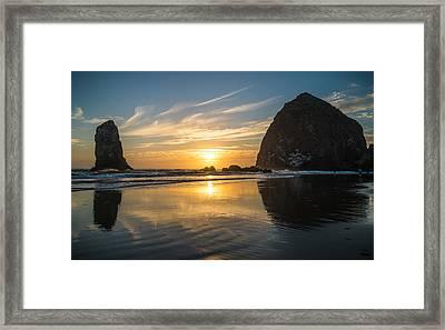 Sunset Stacks Framed Print by Kristopher Schoenleber