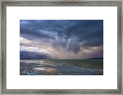 Sunset Storm Over Mono Lake Framed Print by Janis Knight