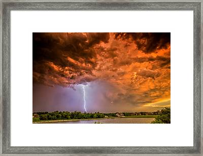 Framed Print featuring the photograph Sunset Strike by James Menzies