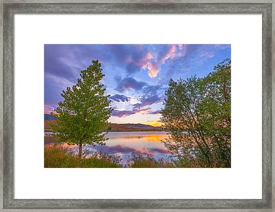 Sunset Stroll Along The Lake Framed Print by Darren White