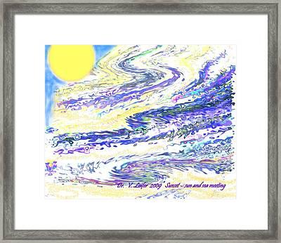 Sunset-sun And Sea Meeting Framed Print by Dr Loifer Vladimir