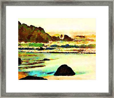 Framed Print featuring the painting Sunset Surf by Angela Treat Lyon