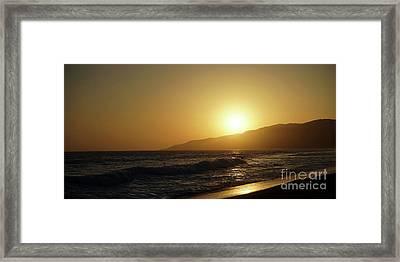 Sunset Surf In Malibu Framed Print