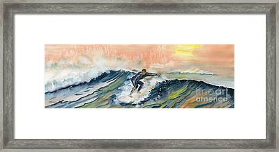 Sunset Surf Framed Print by Melly Terpening